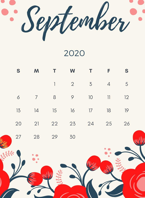 Free September 2020 Floral Calendar