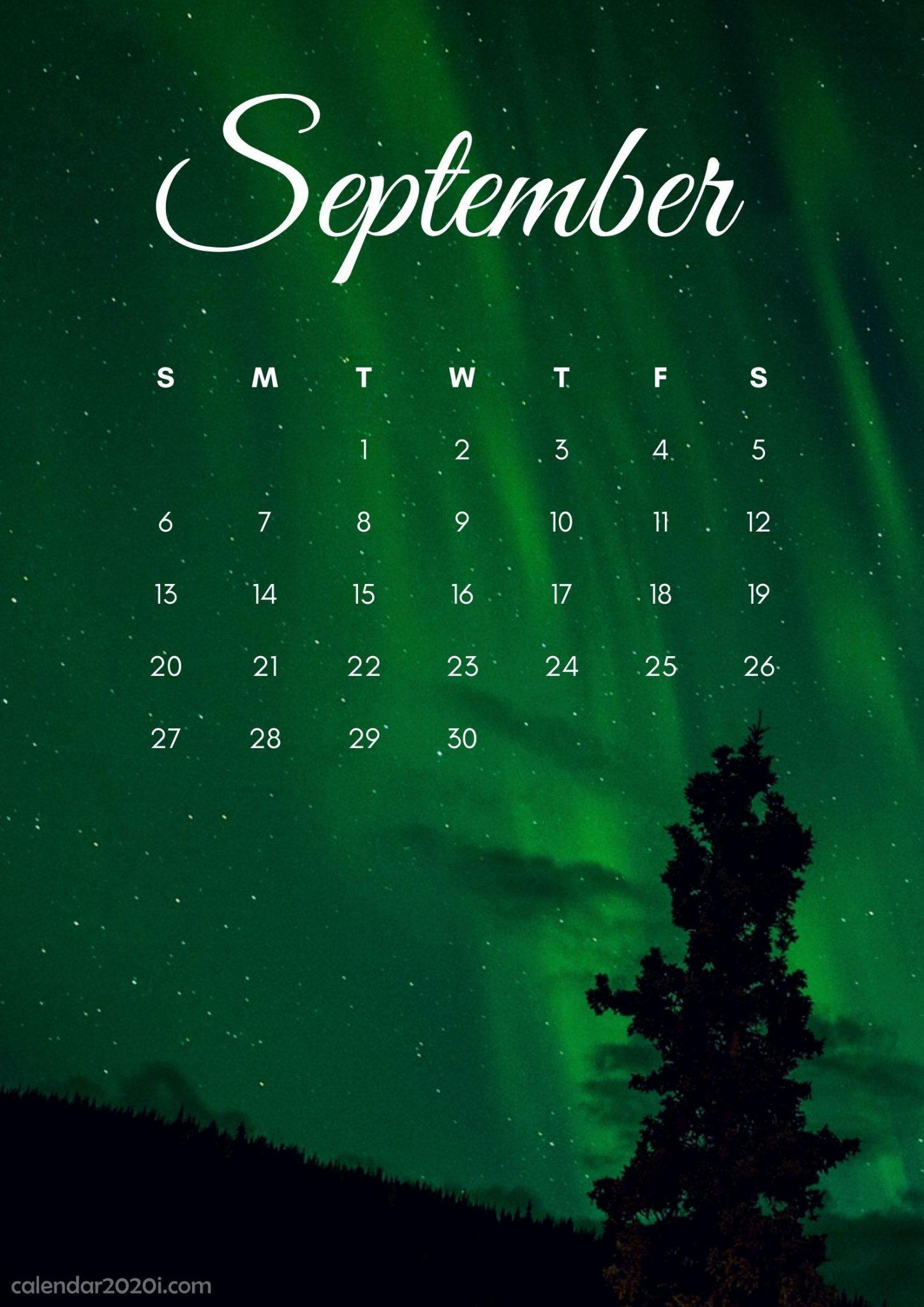 Free September 2020 iPhone Calendar Wallpapers
