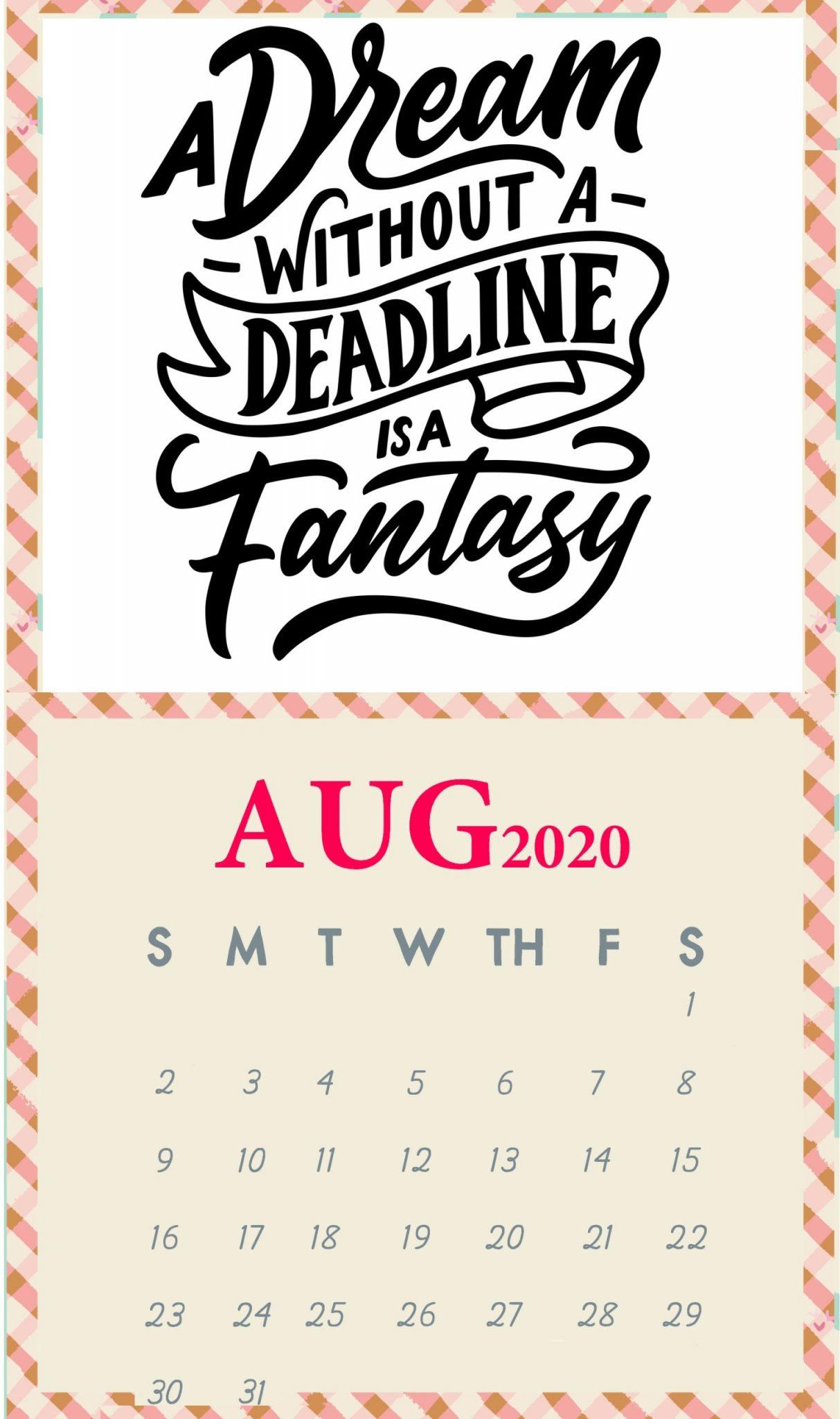 Inspirational August 2020 Quotes Calendar