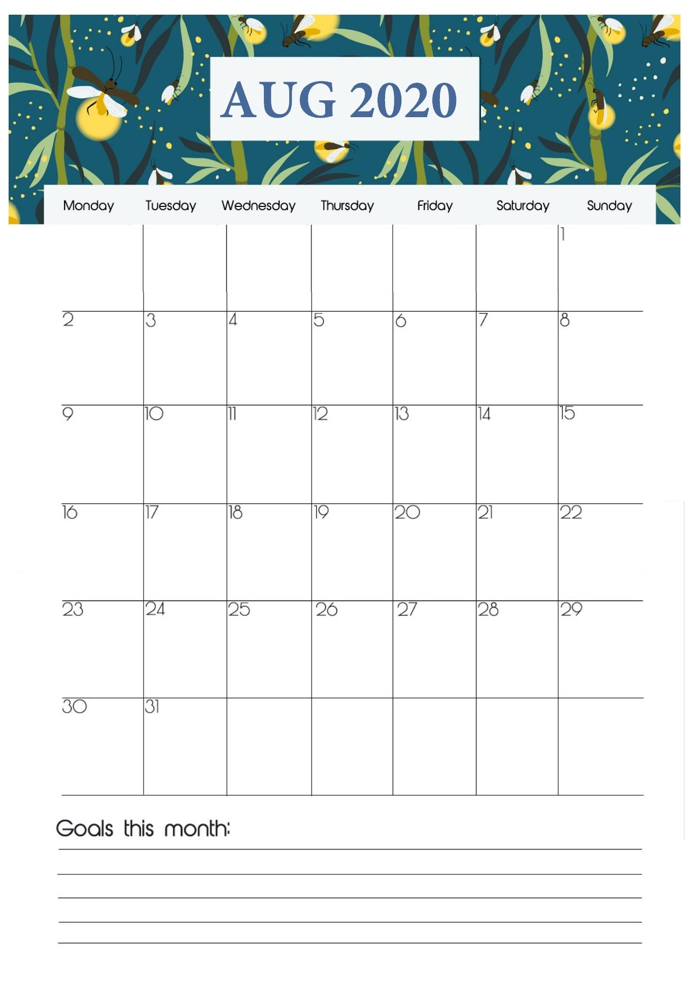 Latest August 2020 Calendar