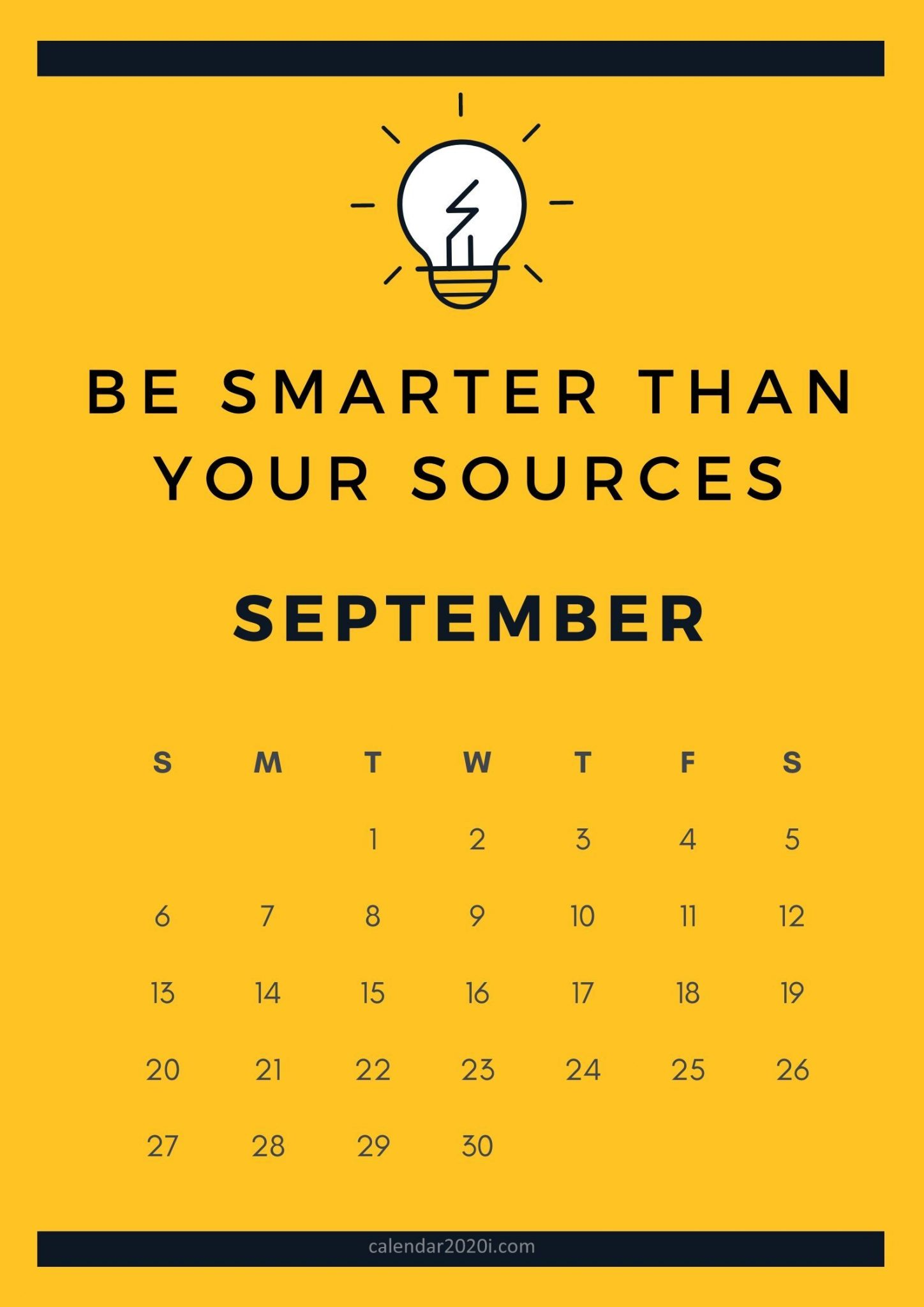 Motivational September 2020 Calendar Download