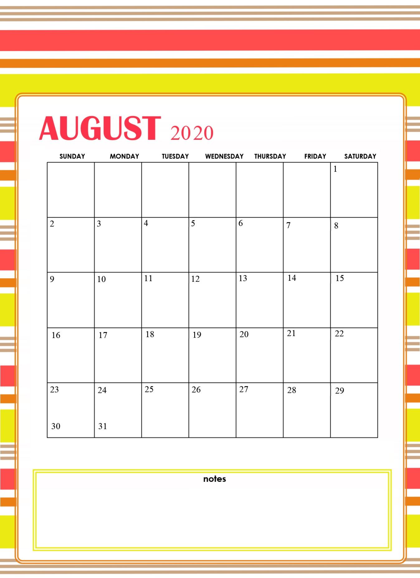 Print August 2020 Cute Calendar
