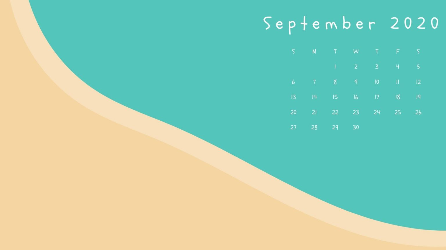 September 2020 Beach Calendar Wallpaper