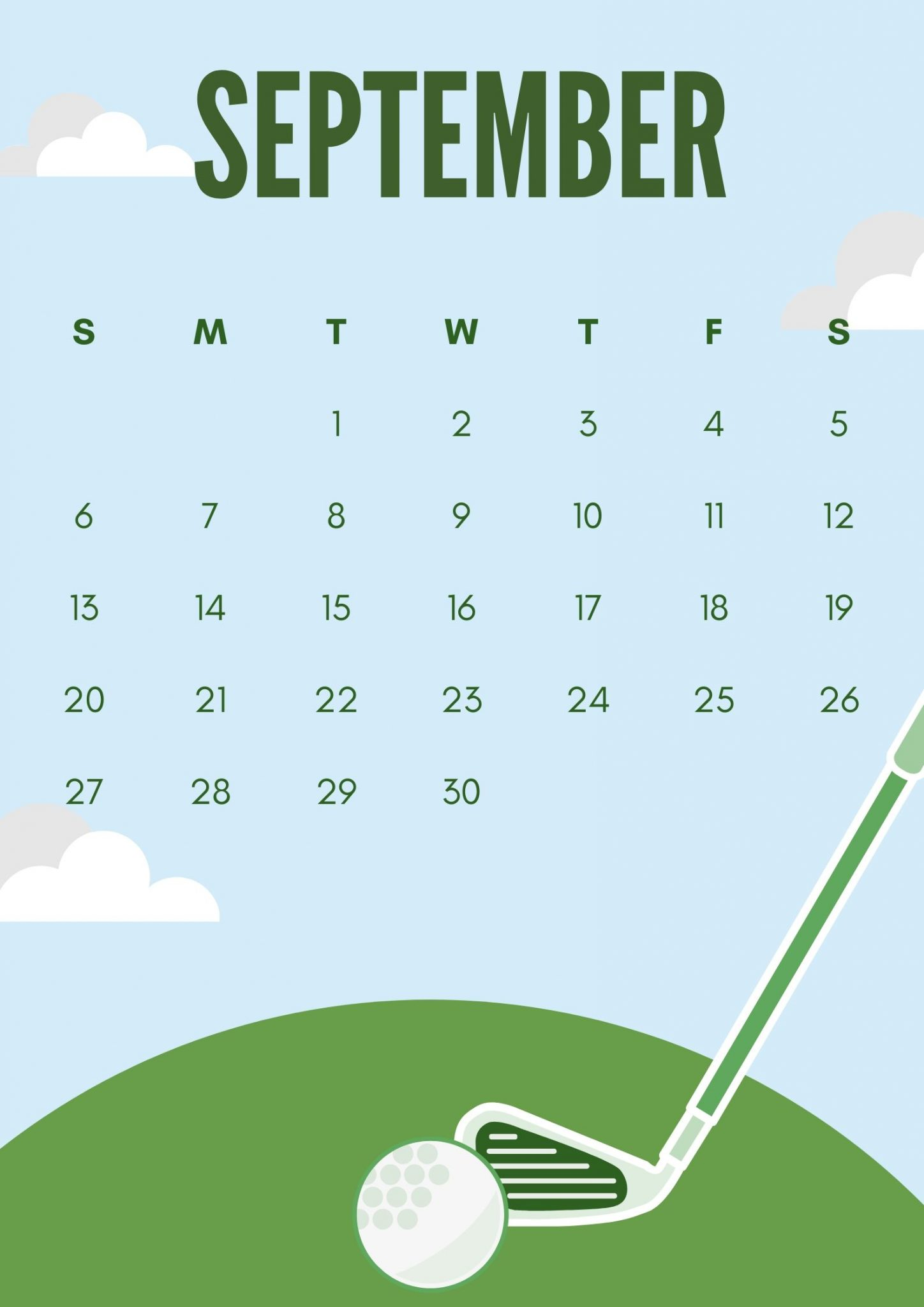September 2020 Calendar Golf Design