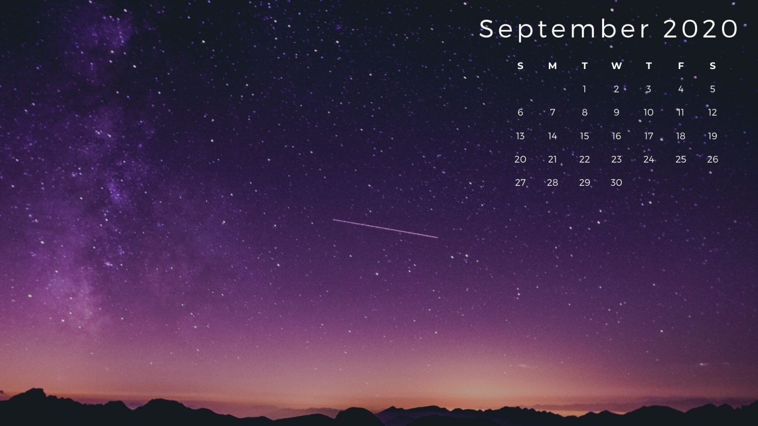 September 2020 Calendar HD Wallpaper