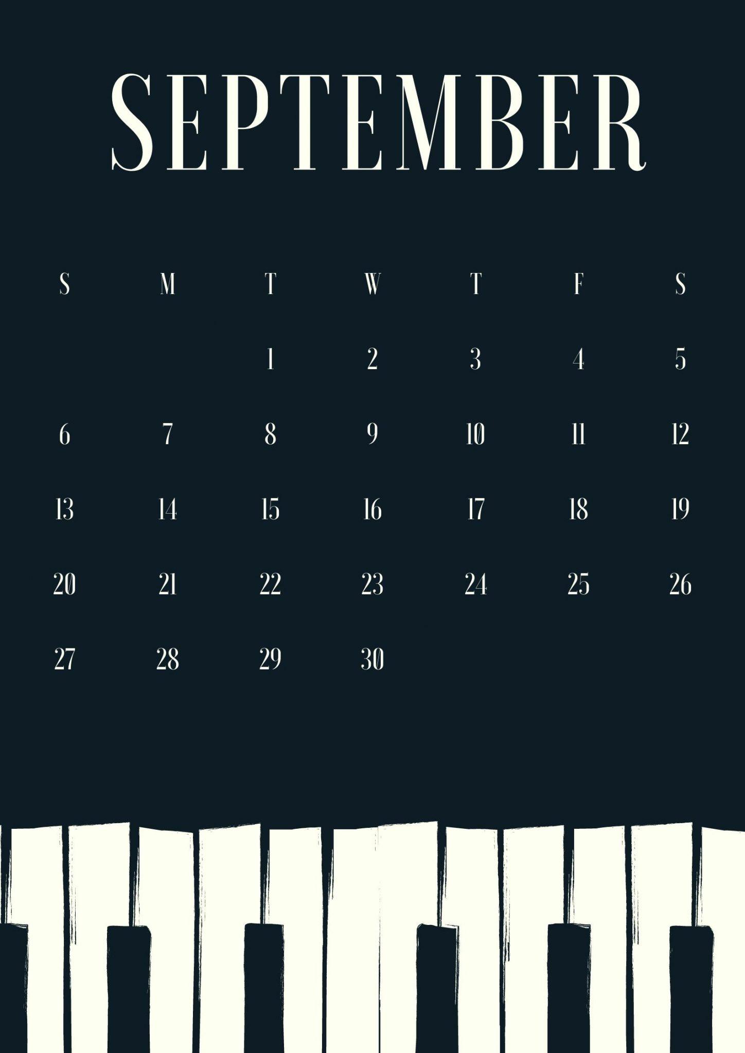 September 2020 Calendar Piano Design