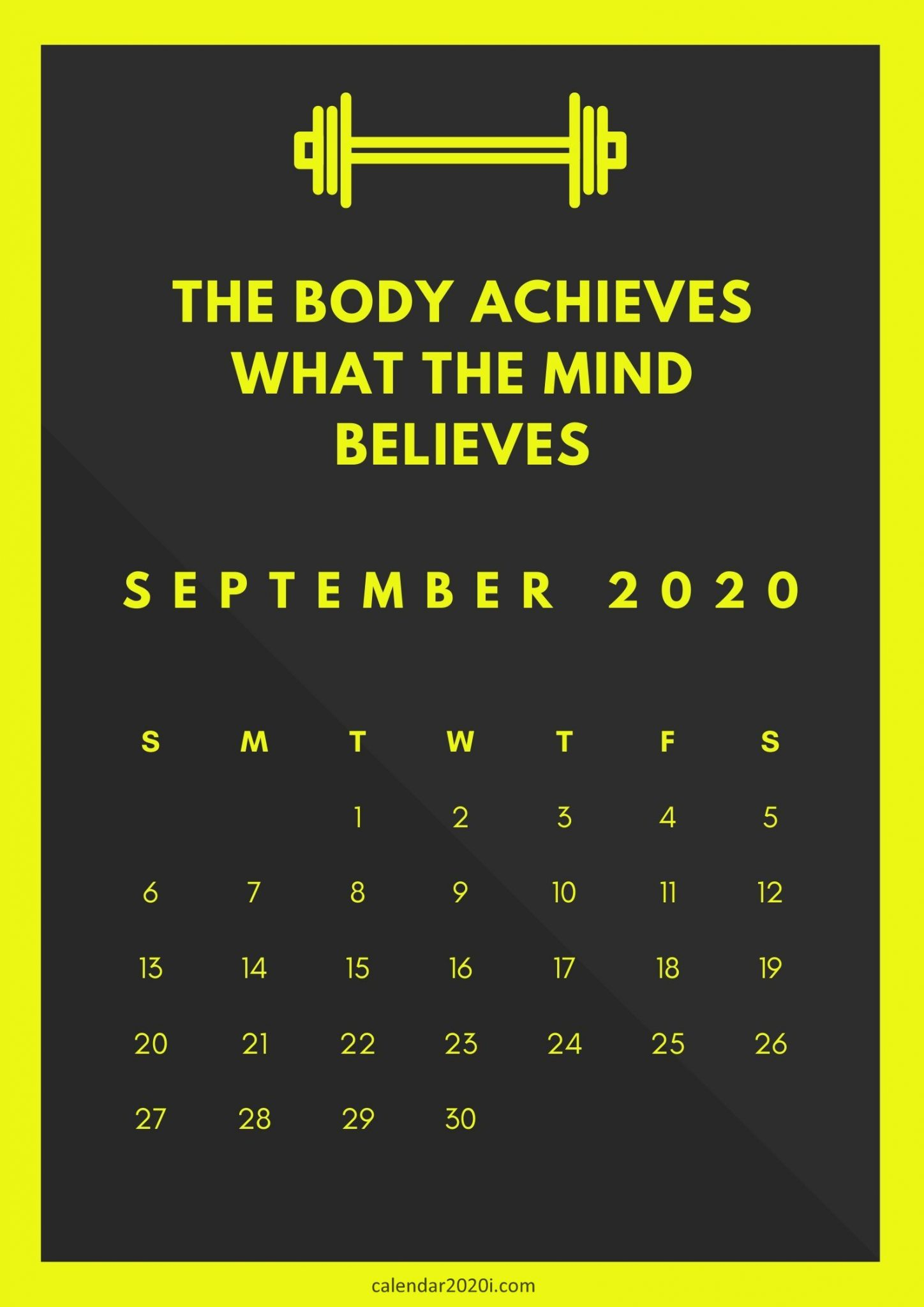 September 2020 Calendar with Quote