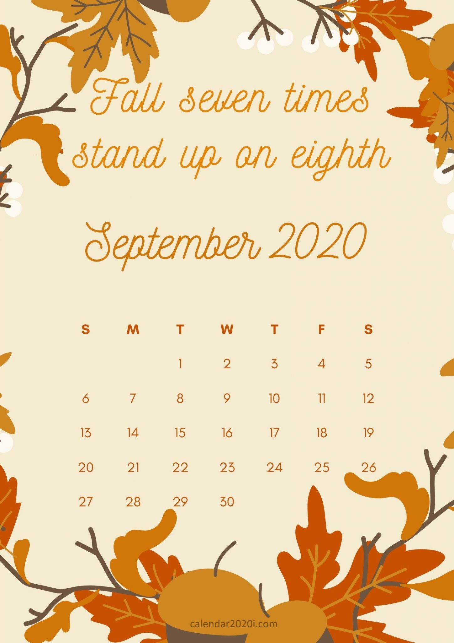September 2020 Calendar with Sayings