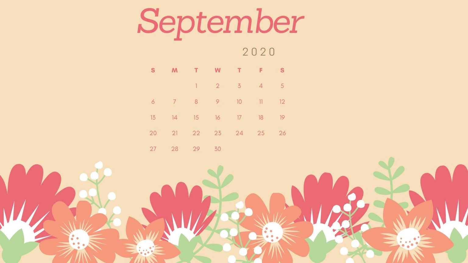 September 2020 Floral Calendar Wallpaper