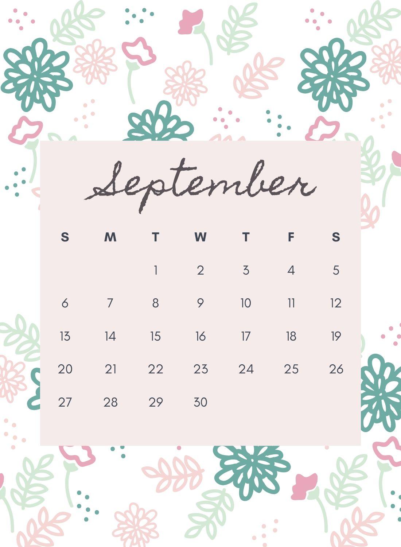 September 2020 Flower Calendar Download