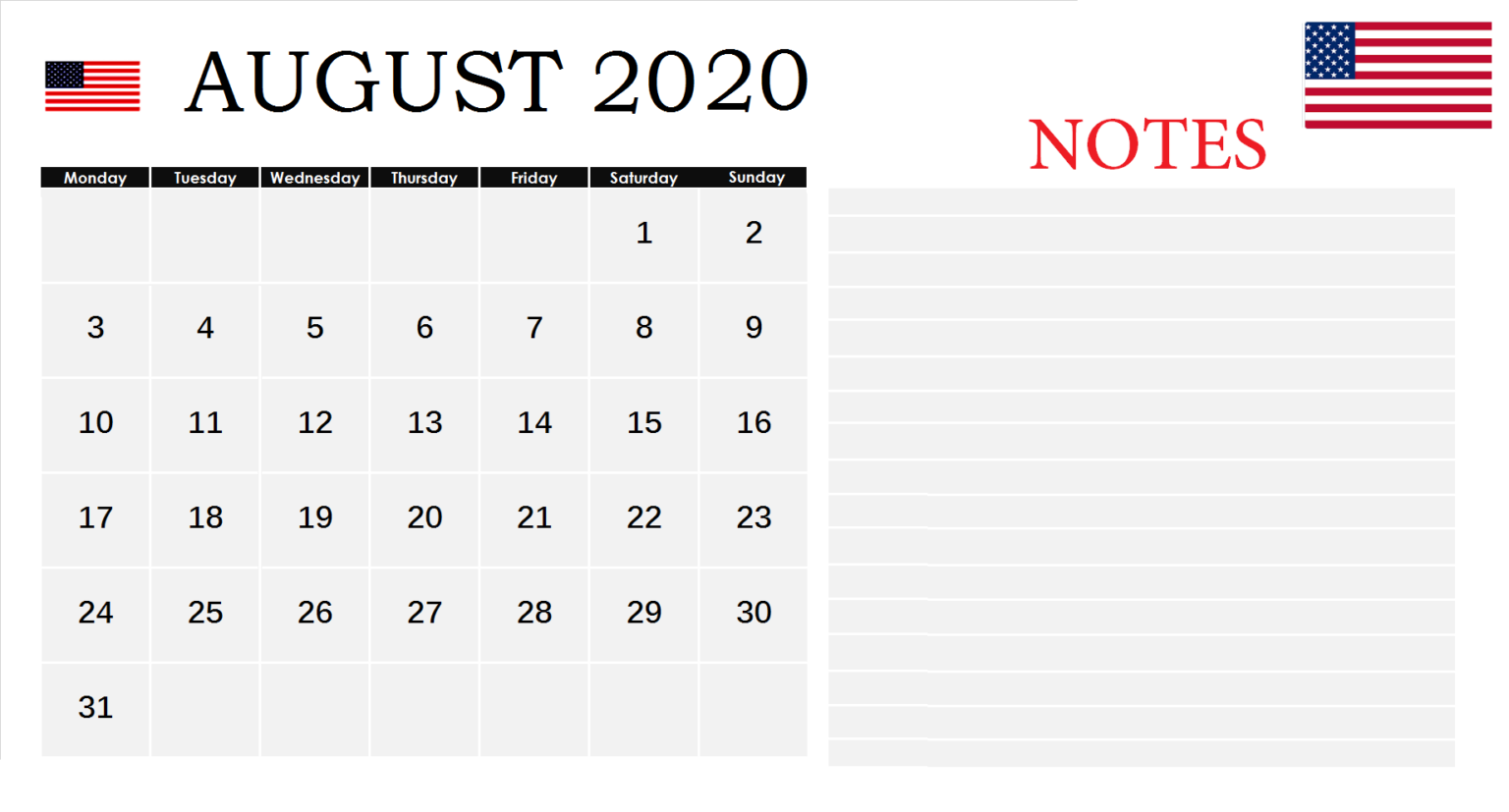 USA August 2020 Federal Holidays
