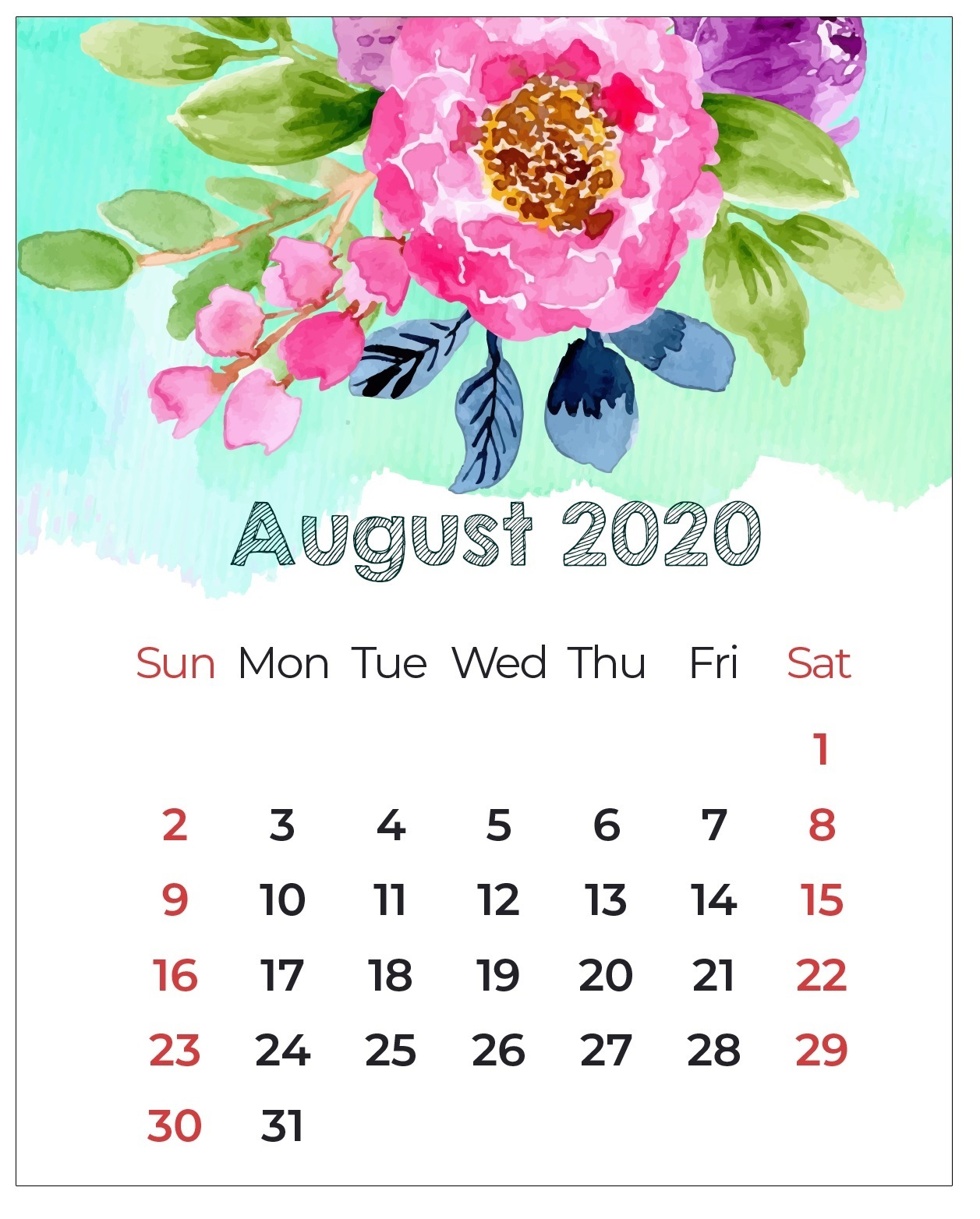 Watercolor August 2020 Floral Calendar