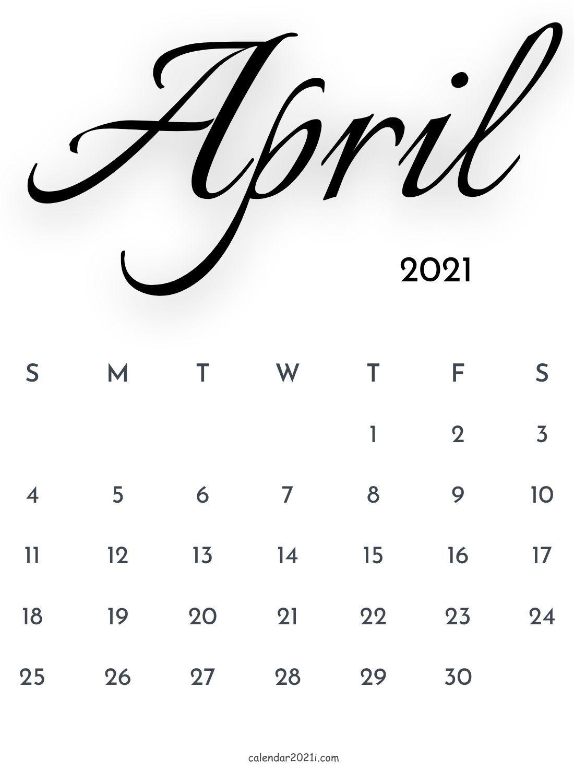 April 2021 Calligraphy Calendar