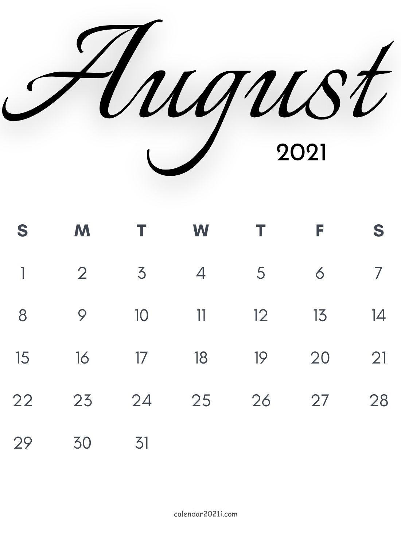August 2021 Calligraphy Calendar