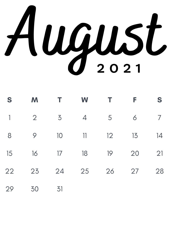 August 2021 Minimalist Calendar Printable