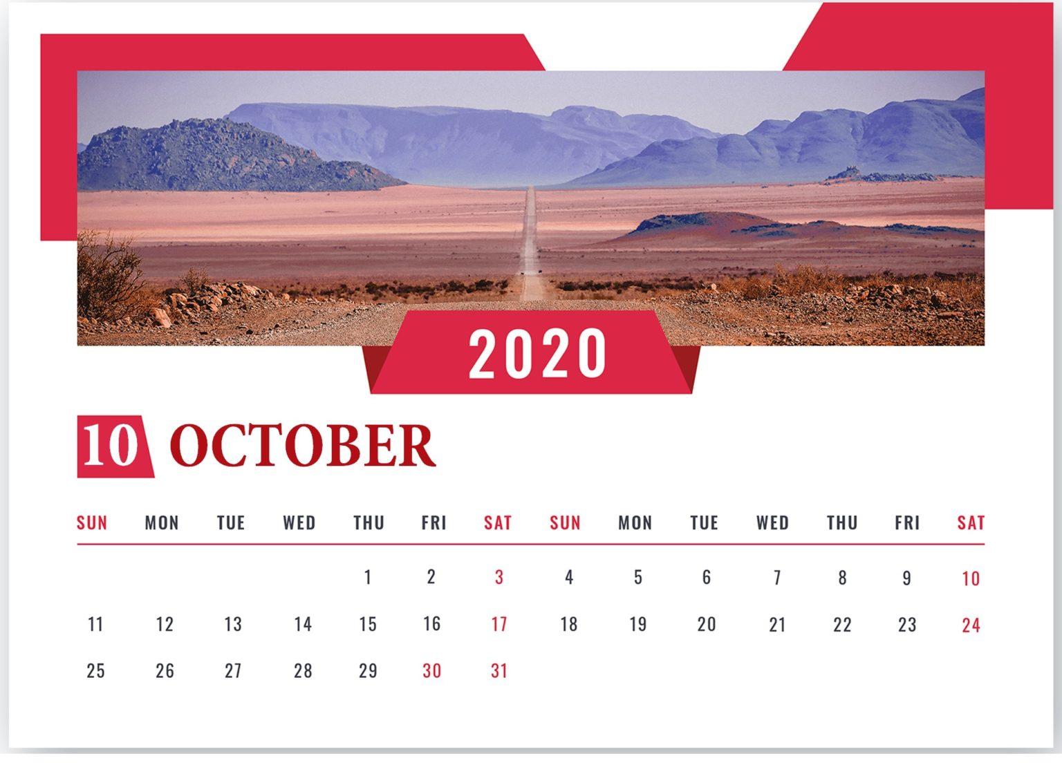 Best October 2020 Desk Calendar