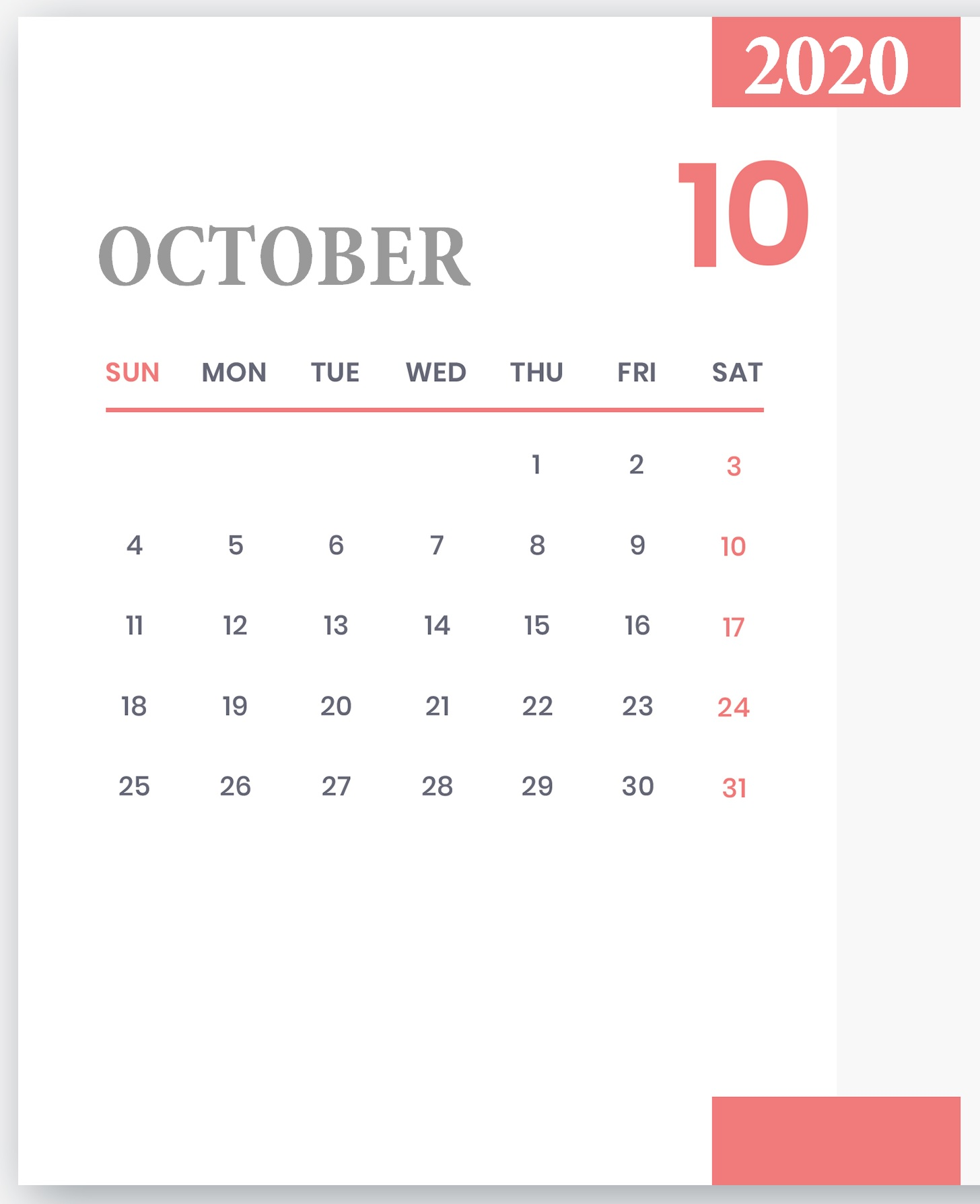 Cute October 2020 Desk Calendar