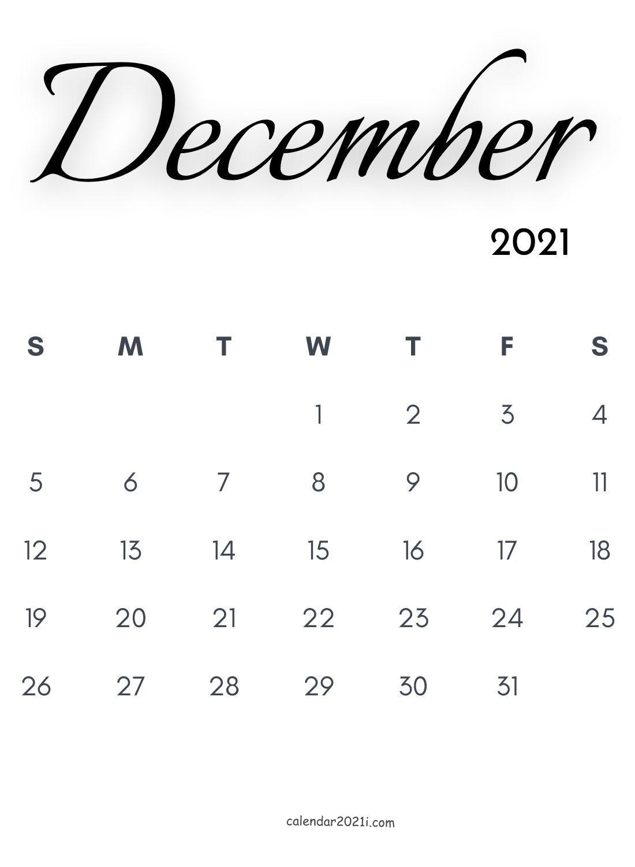 December 2021 Calligraphy Calendar