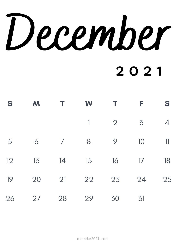 December 2021 Minimalist Calendar Printable