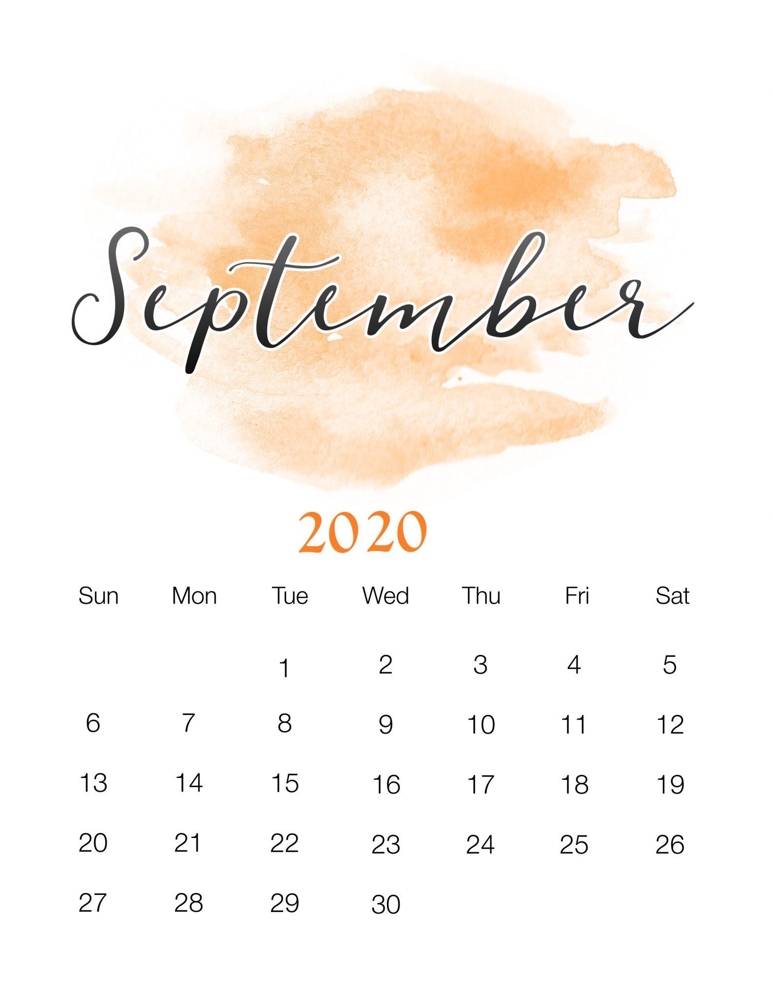 Free September 2020 Wall Calendar