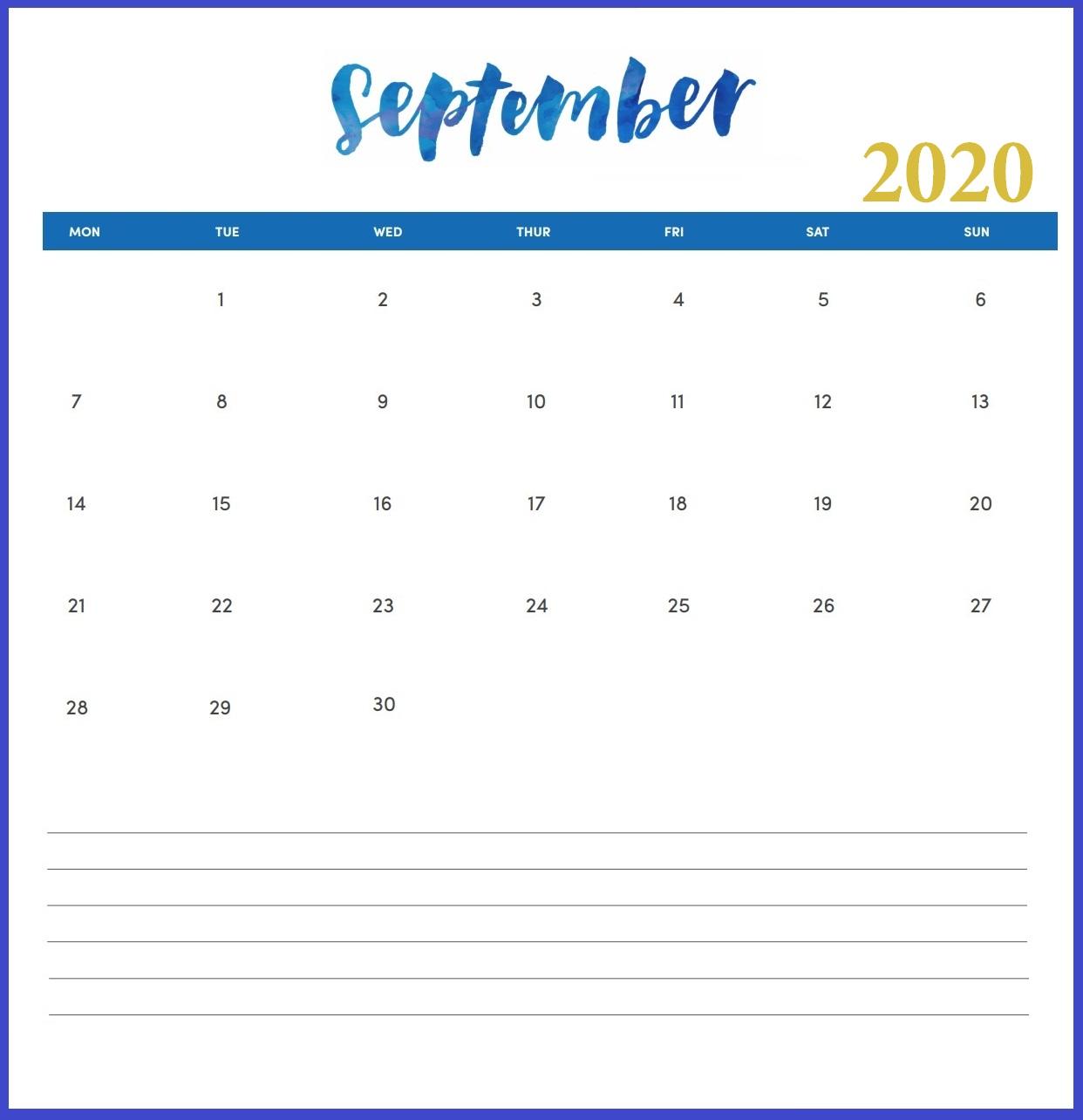 Hand Lettered September 2020 Wall Calendar