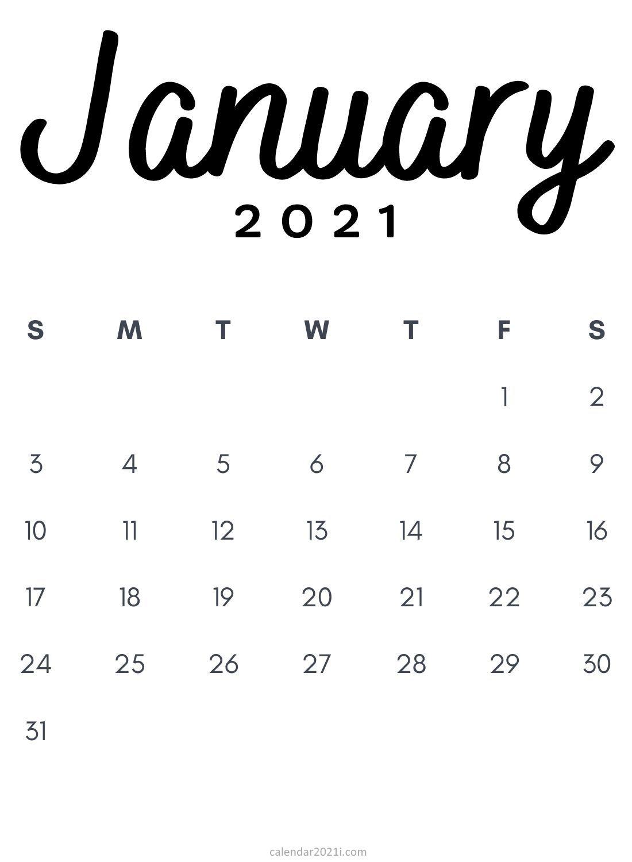January 2021 Minimalist Calendar Printable