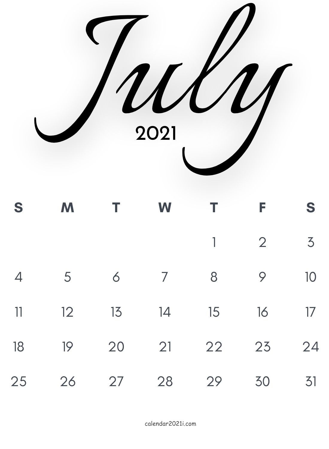 July 2021 Calligraphy Calendar