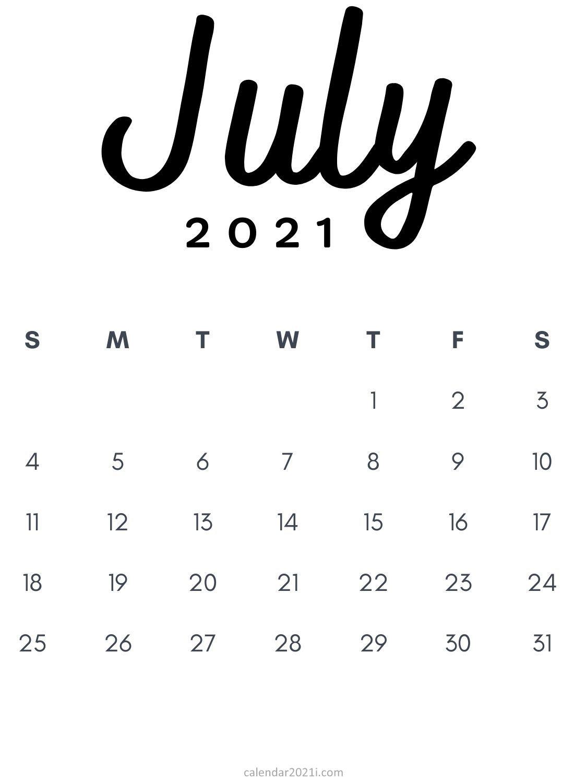 July 2021 Minimalist Calendar Printable