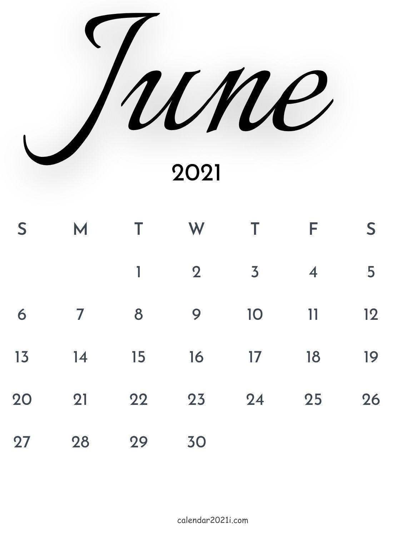 June 2021 Calligraphy Calendar