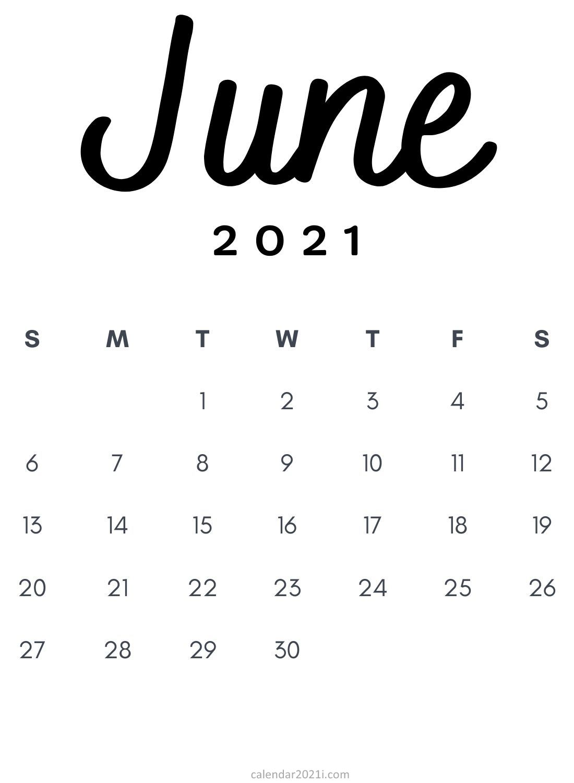 June 2021 Minimalist Calendar Printable