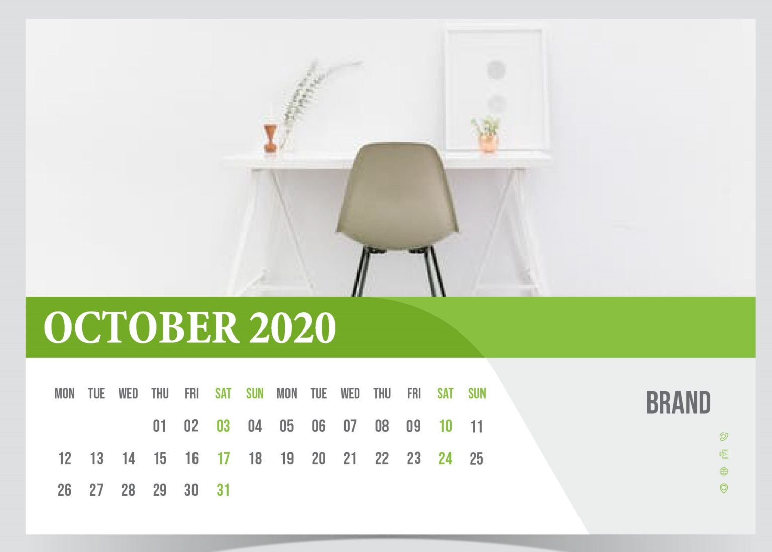 Latest October 2020 Desk Calendar