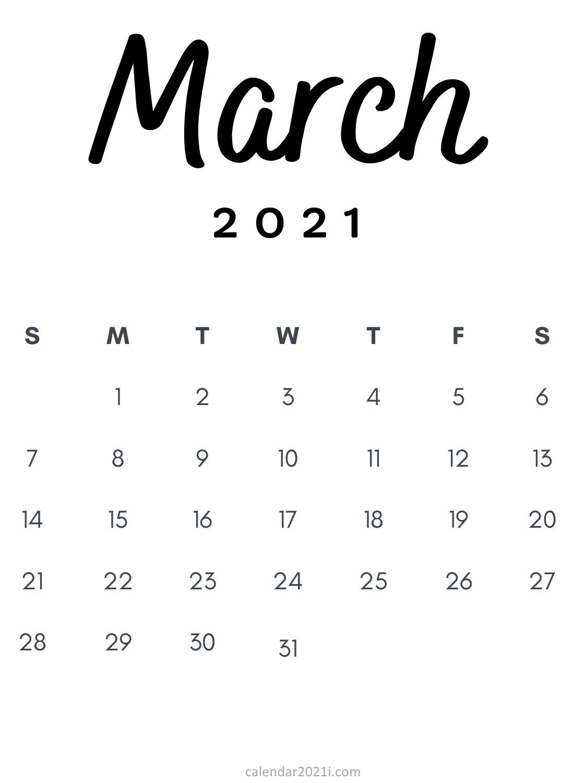 March 2021 Minimalist Calendar Printable