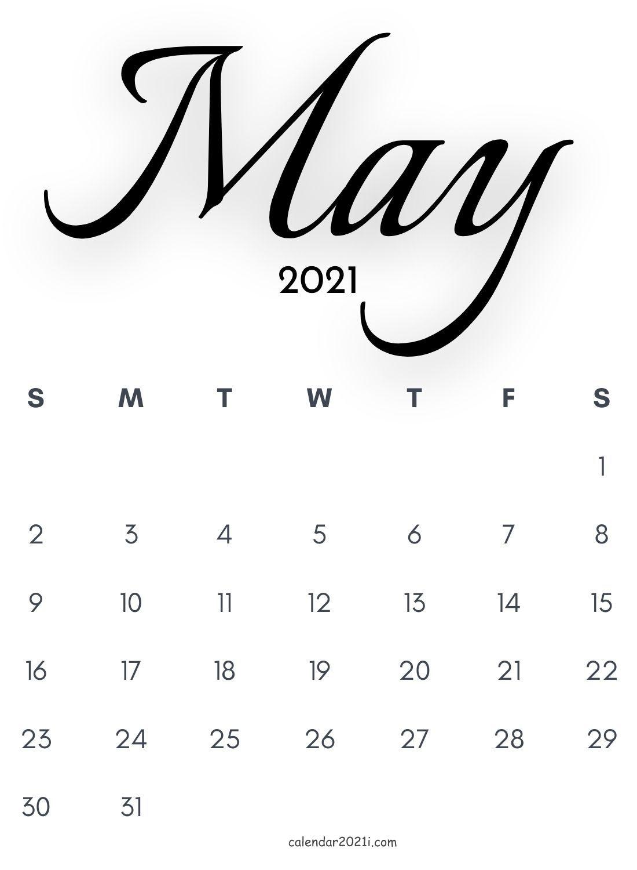 May 2021 Calligraphy Calendar