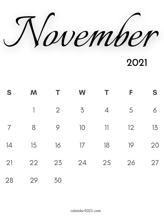 November 2021 Calligraphy Calendar