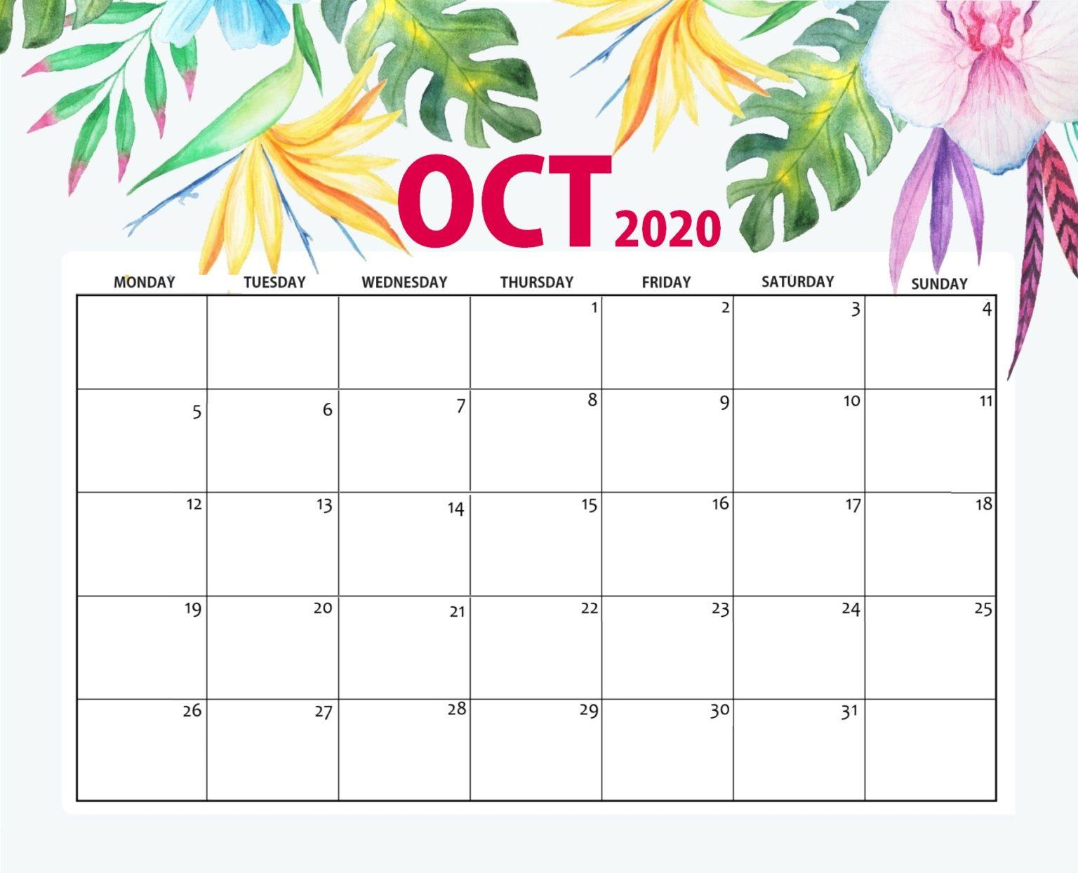 October 2020 Floral Desk Calendar