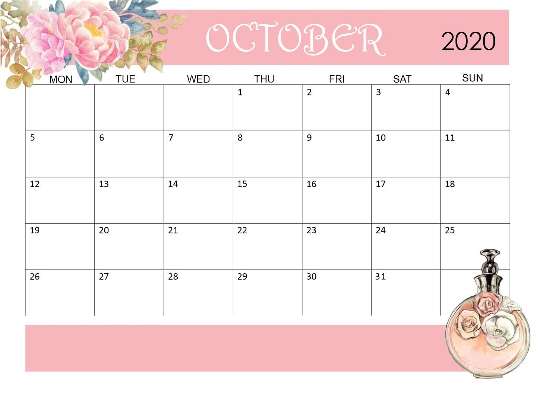 October 2020 Office Desk Calendar