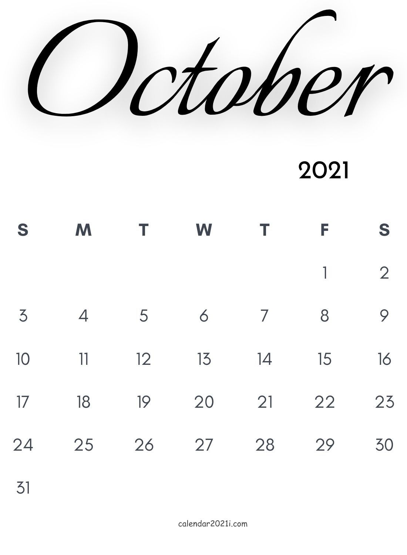 October 2021 Calligraphy Calendar