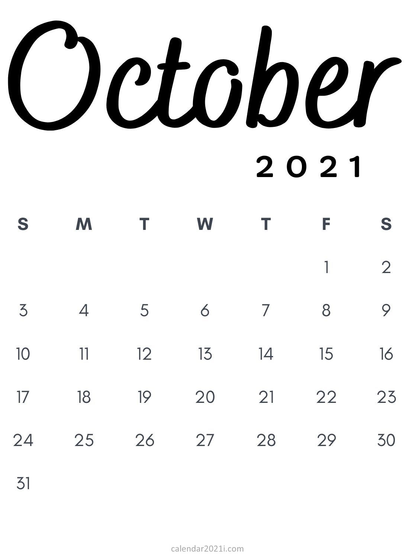 October 2021 Minimalist Calendar Printable