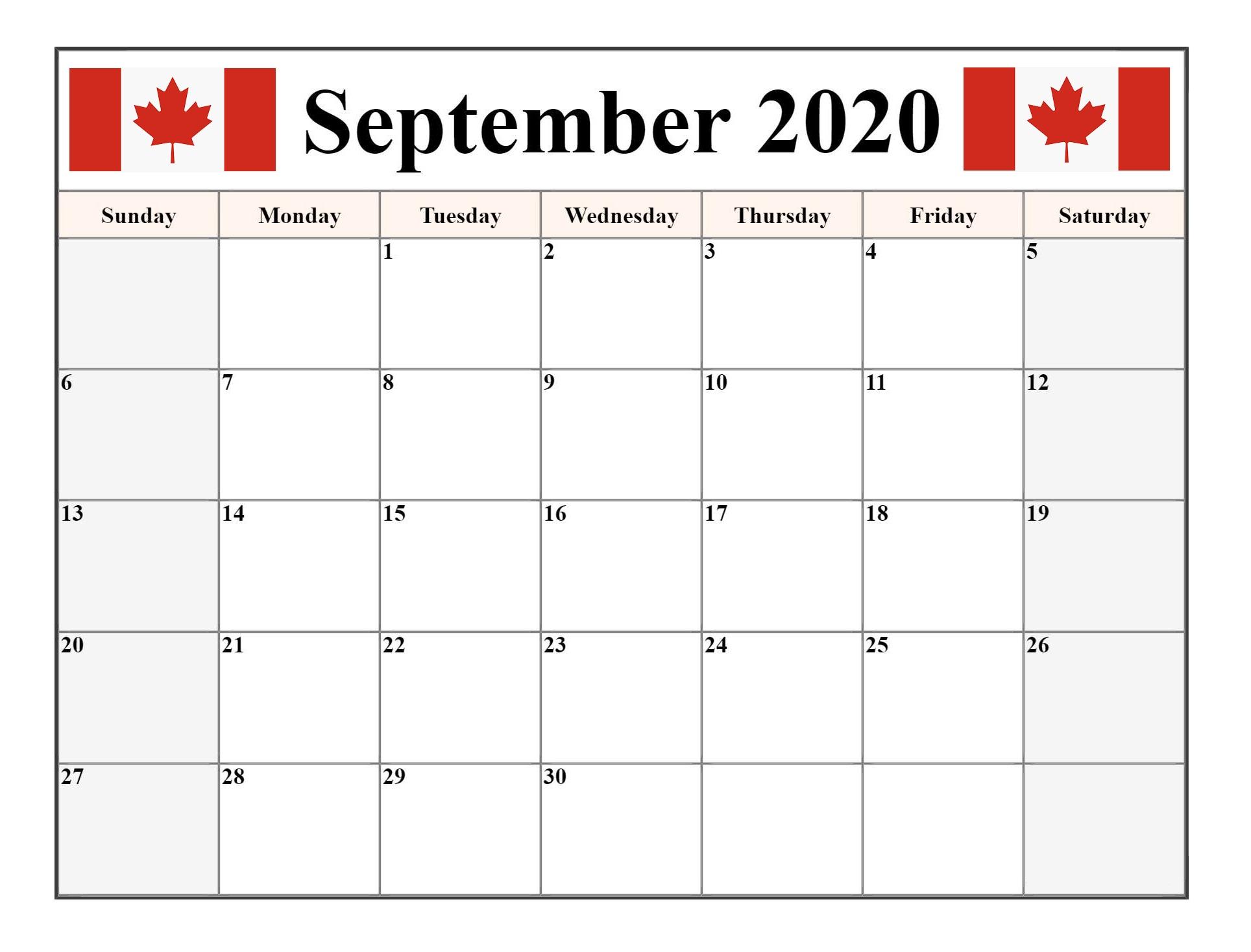 September 2020 Calendar Federal Holidays