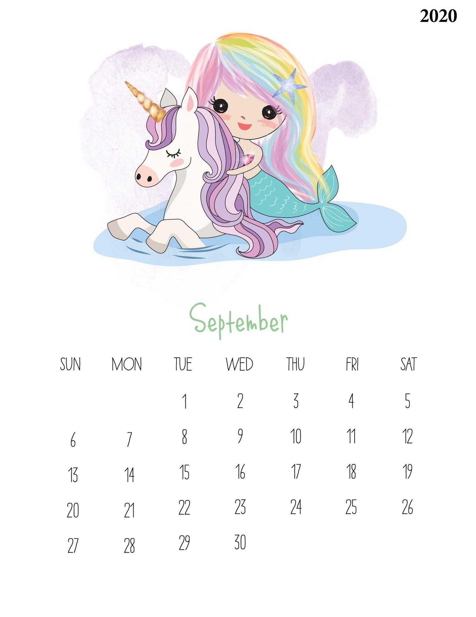September 2020 Kids Wall Calendar