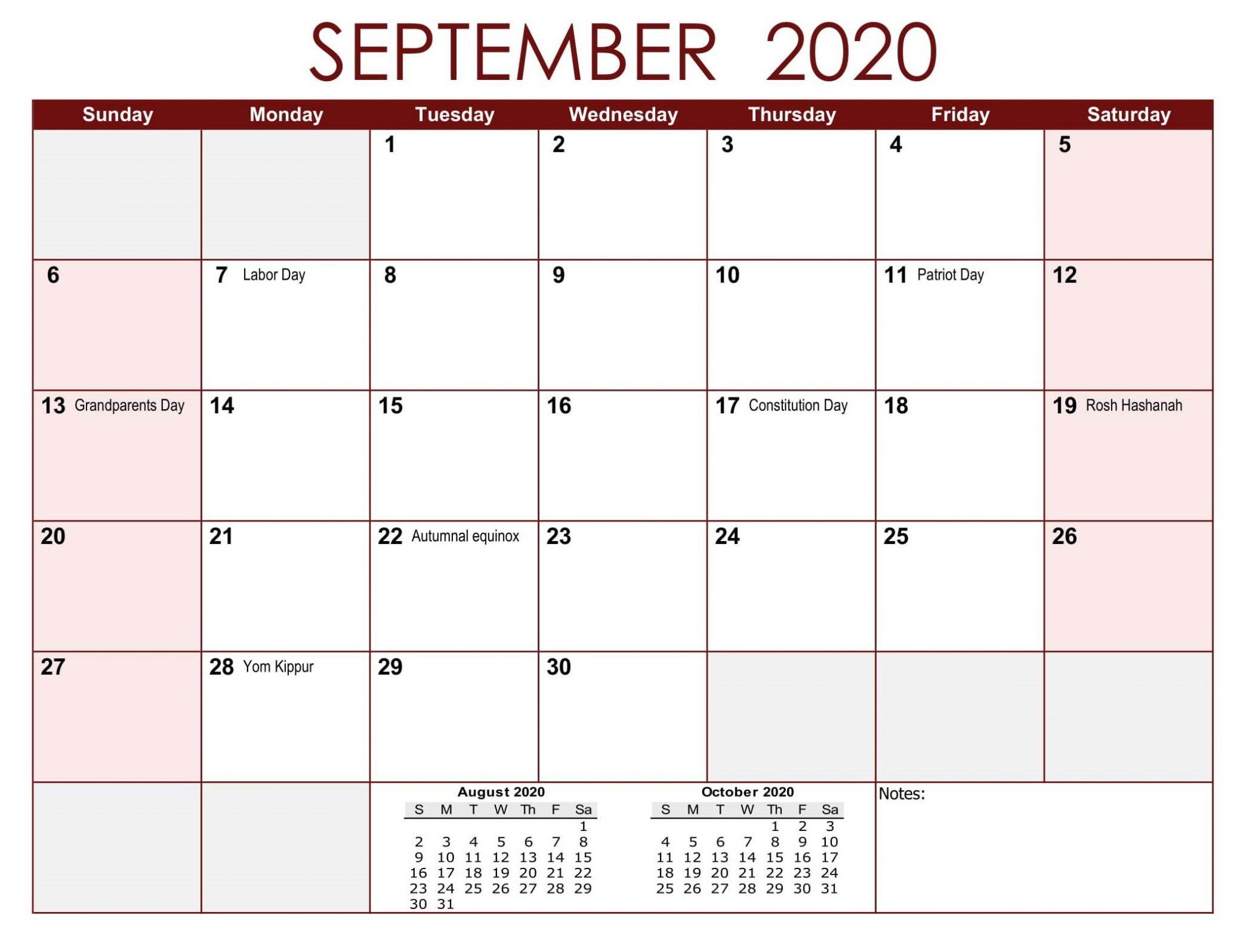 September 2020 USA Federal Holidays