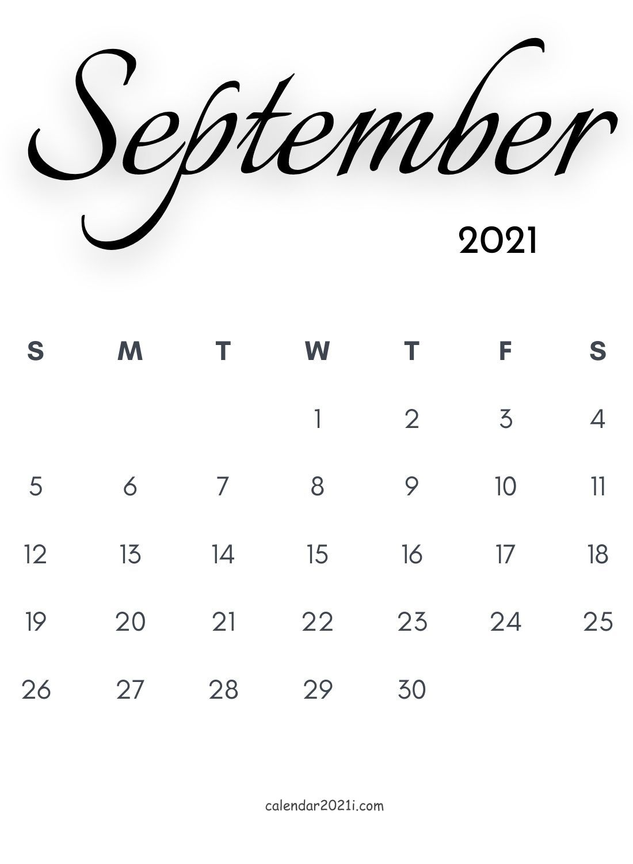 September 2021 Calligraphy Calendar