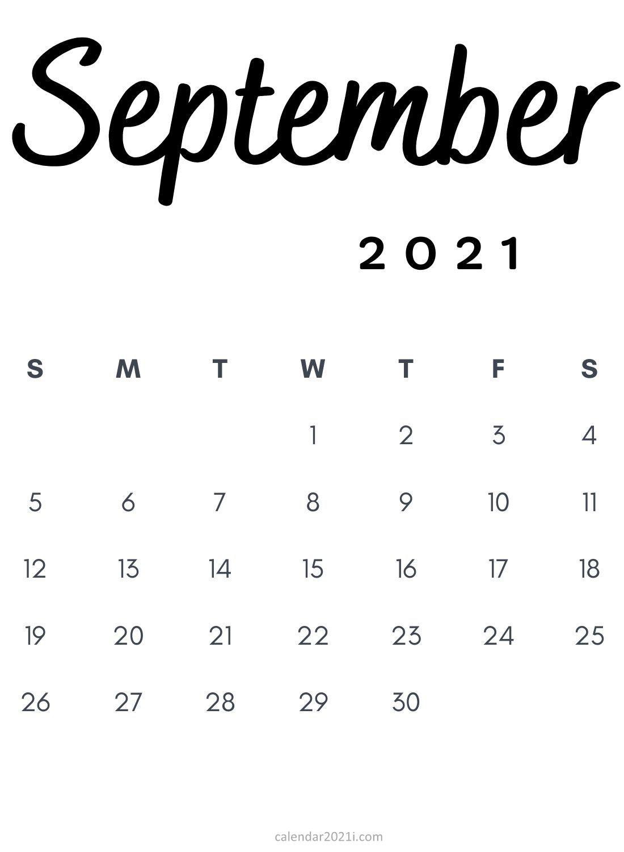 September 2021 Minimalist Calendar Printable