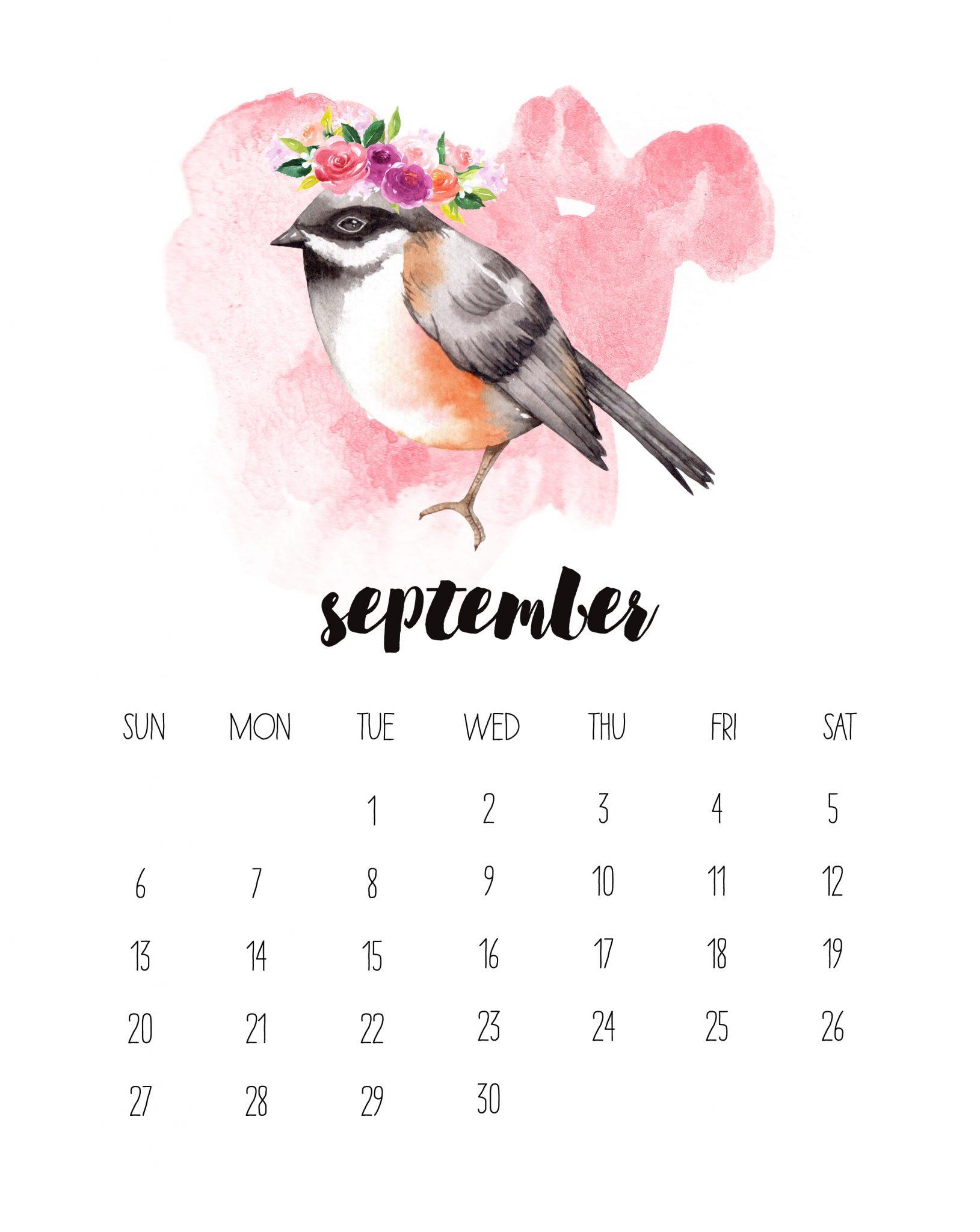 Watercolor Animal September 2020 Wall Calendar