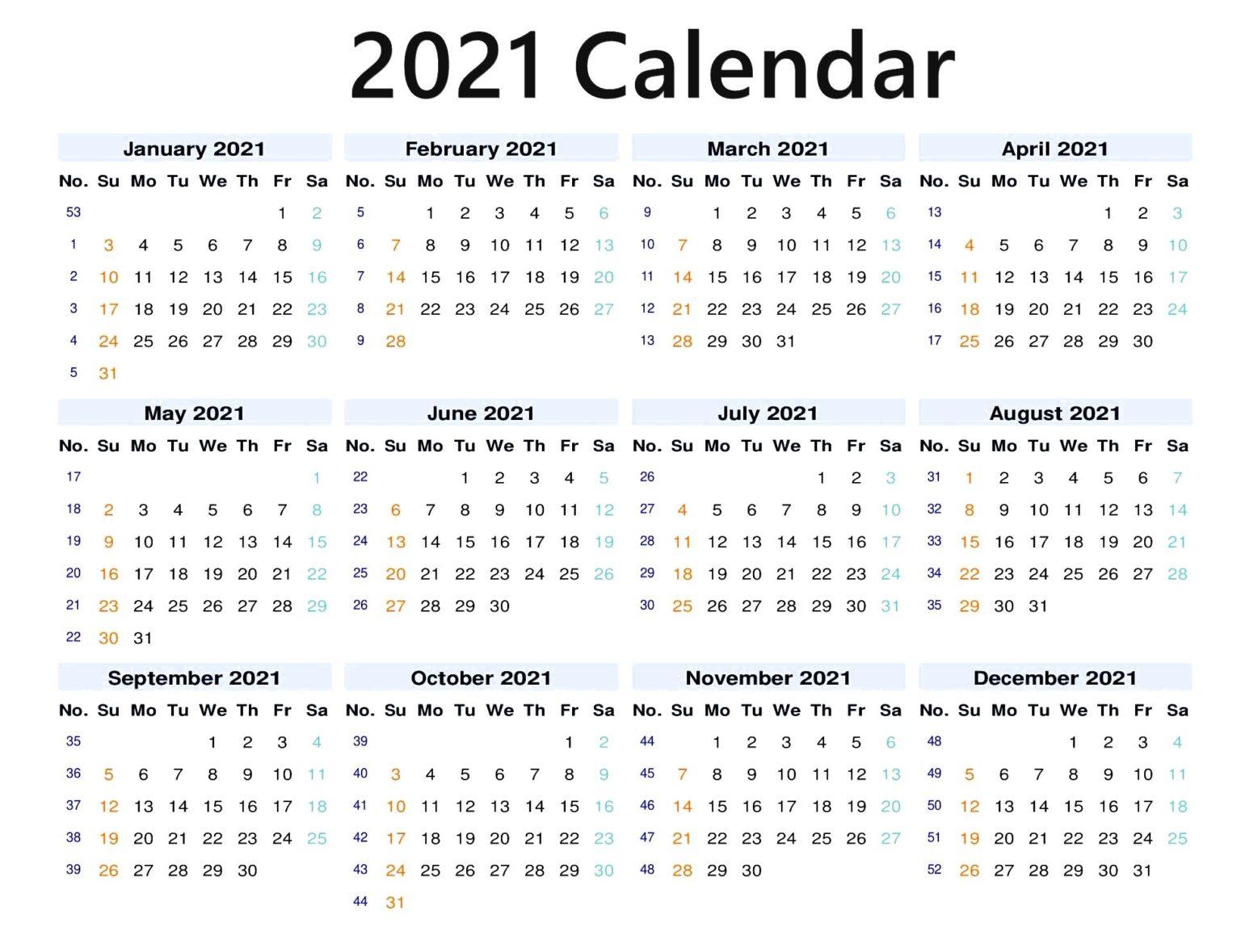 12 Months 2021 Blank Calendar