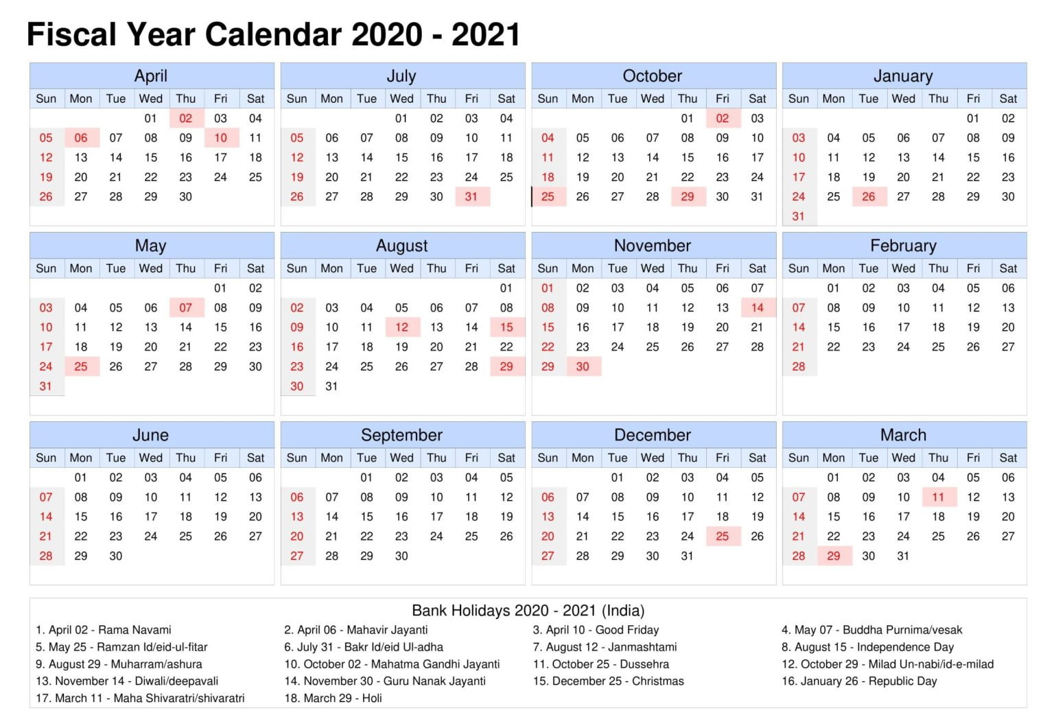 2021 Blank Holidays Calendar