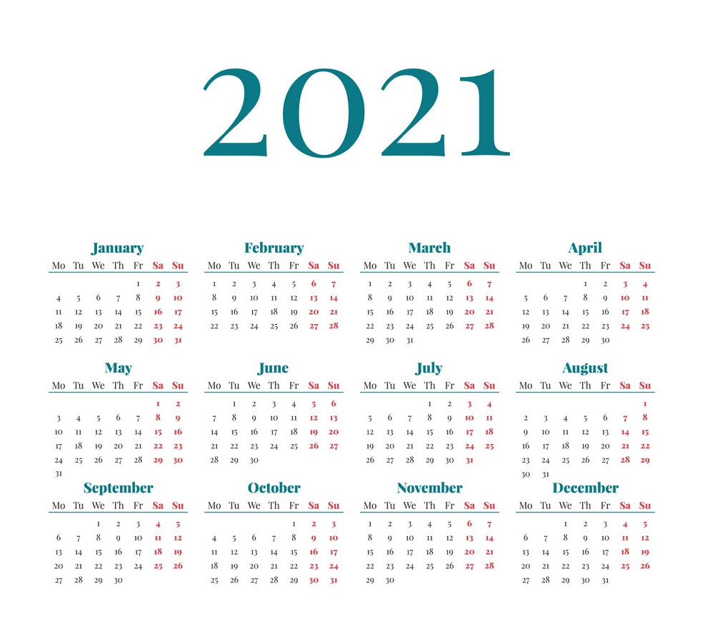 2021 12 Months One Page Calendar