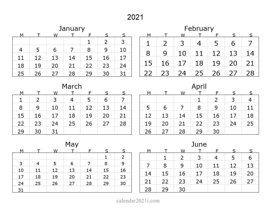 2021 6 Months Landscape Calendar