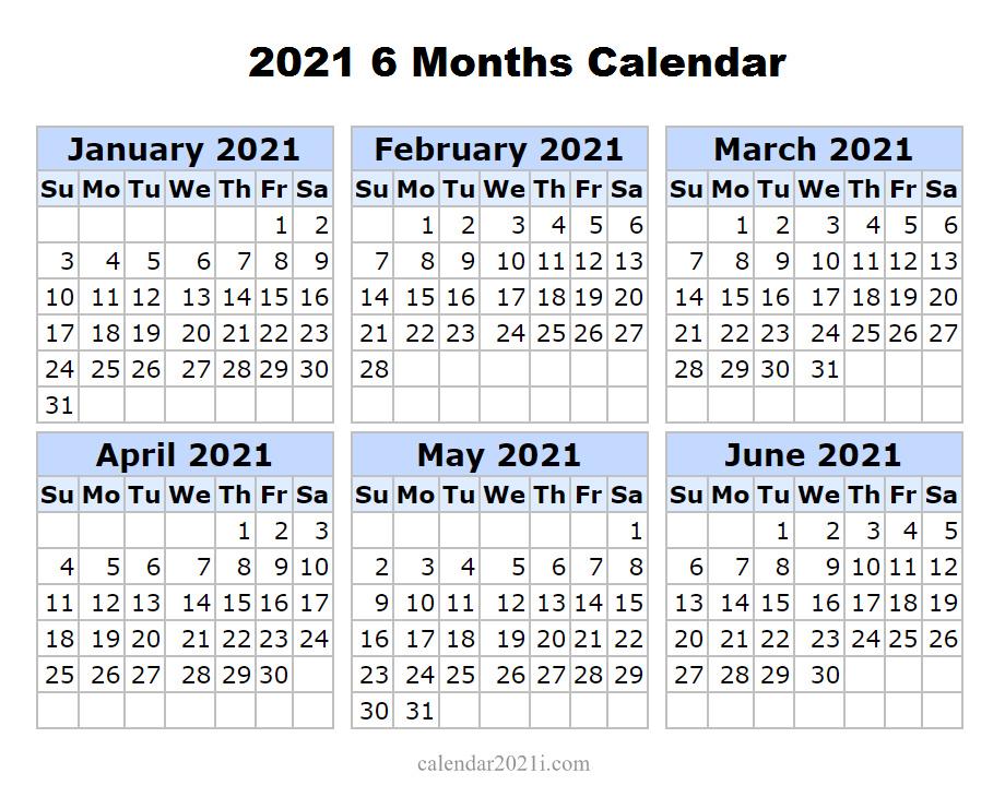 2021 6 Months Printable Calendar