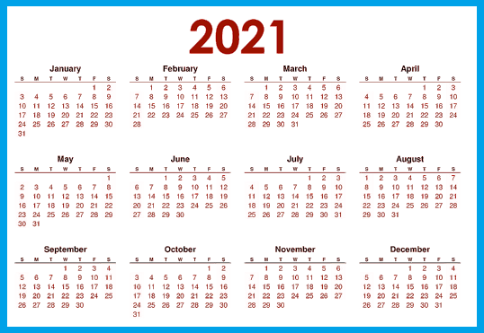 2021 Blank Calendar Printable